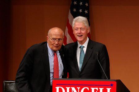 ANN ARBOR, MI - OCTOBER 24: Former President Bill Clinton and Congressman John Dingell of Michigan Stock Photo - 8149798