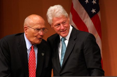 ANN ARBOR, MI - OCTOBER 24: Former President Bill Clinton poses with Congressman John Dingell of Michigan Stock Photo - 8149800