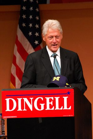 ANN ARBOR, MI - OCTOBER 24: Former President Bill Clinton speaks in support of Congressman John Dingell of Michigan Stock Photo - 8149799
