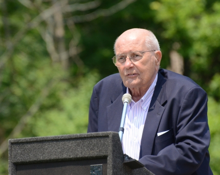 congressman: ANN ARBOR, MI - MAY 27: Congressman John Dingell of Michigan speaks at the annual Memorial Day observance on May 27, 2012 at Arborcrest Memorial Park in Ann Arbor, MI Editorial