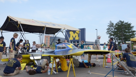 ANN ARBOR, MI - JULY 16: University of Michigan solar car team at the American Solar Challenge stop July 16, 2012 in Ann Arbor, MI.
