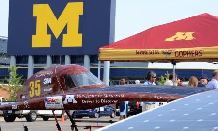 ANN ARBOR, MI - JULY 16: University of Minnesota solar car recharging at the American Solar Challenge stop July 16, 2012 in Ann Arbor, MI.