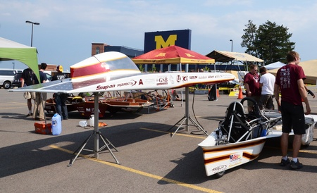 ANN ARBOR, MI - JULY 16: Iowa State University?s solar car at the American Solar Challenge stop July 16, 2012 in Ann Arbor, MI.