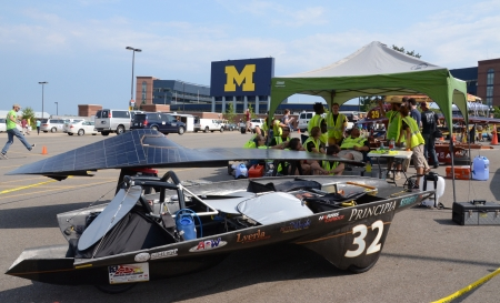 ANN ARBOR, MI - JULY 16: Principia College?s solar car at the American Solar Challenge stop July 16, 2012 in Ann Arbor, MI.