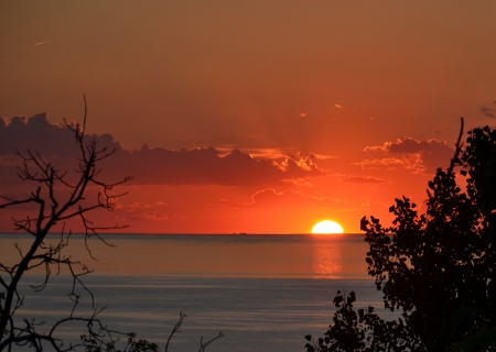 Sunset over Lake Michigan from Mt. Baldy sand dune, Indiana Dunes National Lakeshore Stok Fotoğraf