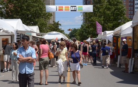 ANN ARBOR, MI - JULY 20: Crowds enjoy the Ann Arbor's South University Art Fair, one of four art fairs taking place in Ann Arbor July 18-21, 2012.