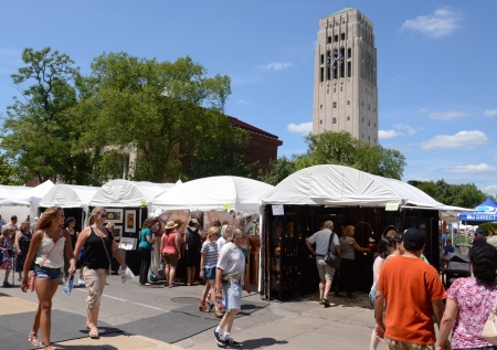 ANN ARBOR, MI - JULY 20: Crowds at the Ann Arbor Art Fairs, taking place near the University of Michigan campus July 18-21, 2012.
