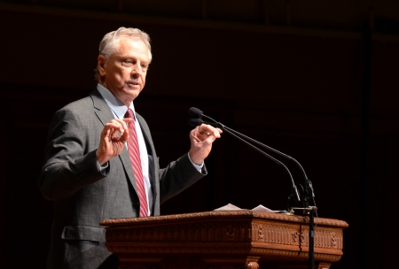 ANN ARBOR, MI - JANUARY 21: Morris Dees, co-founder of the Southern Poverty Law Center, delivers the keynote speech at the University of Michigan's Martin Luther King Symposium January 21, 2013.