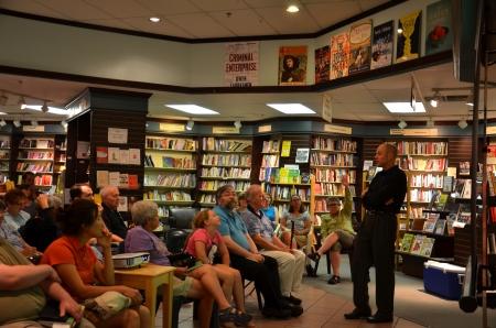 ANN ARBOR, MI - JUNE 25: New York Times bestselling author Jim Ottaviani discusses his new book Primates at a book signing at Nicolas Books June 25, 2013 in Ann Arbor, MI.