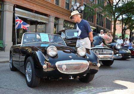 ANN ARBOR, MI - JULY 12: 1960 Austin Healey Sprite at the Rolling Sculpture car show  July 12, 2013 in Ann Arbor, MI.