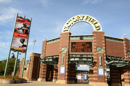 INDIANAPOLIS - JUNE 15: Victory Field, home of the Indianapolis Indians baseball team, is shown June 15, 2014. The indians lost their game to Gwinnett 2-1. Stock Photo - 29400942