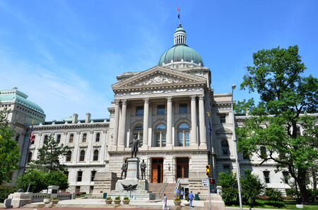 INDIANAPOLIS - JUNE 16:  The Indiana Statehouse, shown here on June 16, 2014, houses all three branches of the state government.  Stock Photo - 29400937