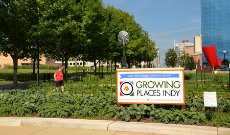 maintains: INDIANAPOLIS - JUNE 15:  Growing Places Indy maintains four urban micro-farms, such as this Slow Food Garden in downtown Indianapolis, shown June 15, 2014.
