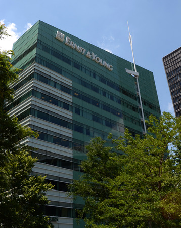 DETROIT, MI - JULY 6: Ernst and Young, whose Detroit  headquarters are shown on July 6, 2014, is serving as financial restructuring advisors to the bankrupt city of Detroit.