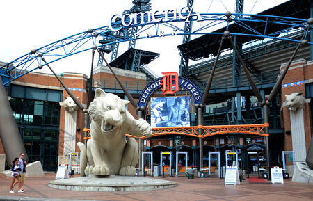 majors: DETROIT, MI - JULY 6: Fans walk past entry of Comerica Park, home of the Detroit Tigers, on July 6, 2014. The Tigers lost to the Tampa Bay rays that night 7-3.
