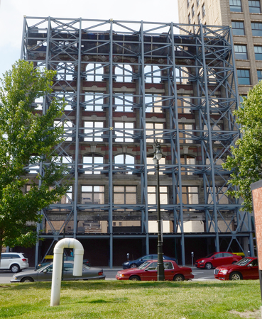 DETROIT, MI - JULY 6: This reinforced building facade in Detroit, MI, shown on July 6, 2014, is representative of the revitalization activity in the city.