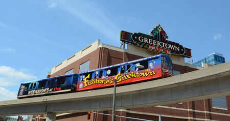 DETROIT, MI - JULY 6: The Detroit People Mover going past the Greektown casino in Detroit, MI on July 6, 2014.  Stock fotó - 29878814