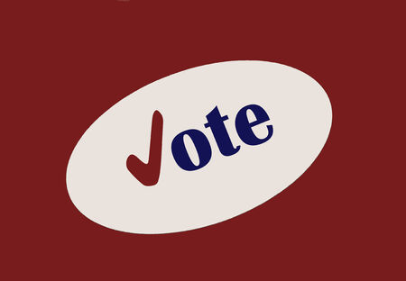 voted: Vote sticker on red  Stock Photo