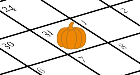 Calendar with Halloween marked with a pumpkin