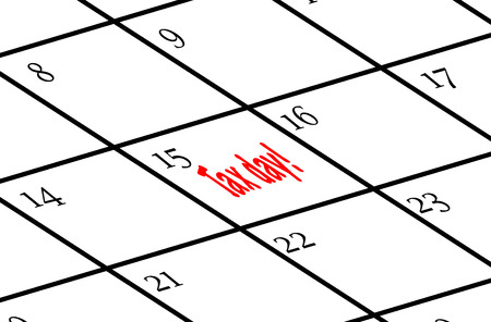 Calendar with tax day marked in red on the 15th