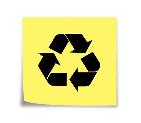 스티커 메모 알림 재활용, 검은 색 노란색 스톡 콘텐츠 - 31000870