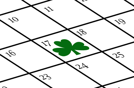 Calendar with St. Patricks day marked on it with a cloverleaf