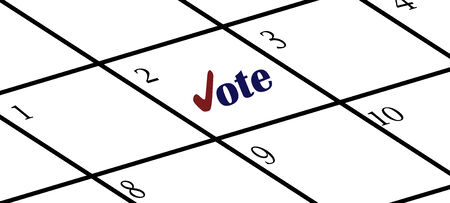 voted: Calendar with reminder to vote in red and blue