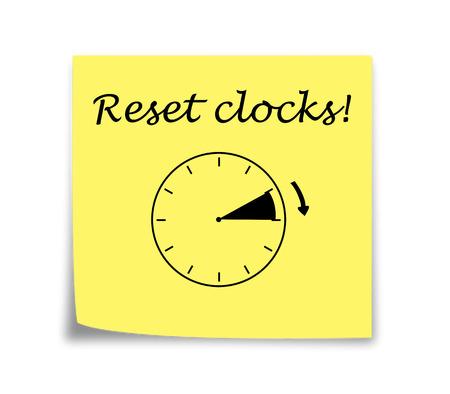daylight savings time: Sticky note reminder to set clocks forward black on yellow