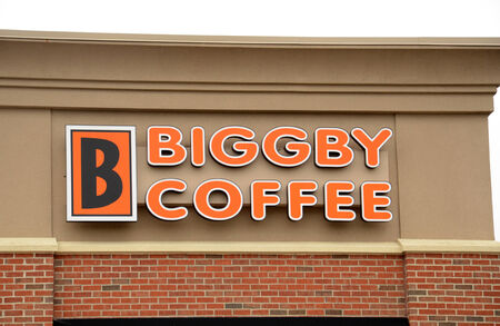 franchises: ANN ARBOR, MI - AUGUST 24: Biggby Coffee, whose east Ann Arbor store logo is shown on August 24, 2014, has over 100 franchises in the United States.
