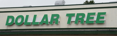 bidding: ANN ARBOR, MI - AUGUST 24: Dollar Tree, whole Ann Arbor store logo is shown on August 24, 2014, is in a bidding war for Family Dollar, a rival.  Editorial