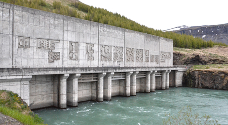 hydropower: Thorsardalur Valley, ICELAND - JUN 14:  The Burfell hydropower station, shown here in June 14, 2015, can generate up to 270 MW of power.