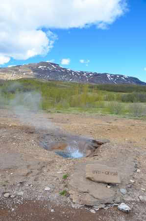 GEYSIR, ICELAND - JUN 14:  Litli Geysir, shown in Geysir, Iceland, on June 14, 2015, is one of thirty small geysers in a field that has been active for approximately 10,000 years.