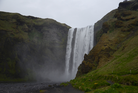 skogafoss waterfall: NEAR SKOGAR, ICELAND - JUN 15:  Skogafoss waterfall, shown on June 15, 2015, was in the film The Secret Life of Walter Mitty in 2013.