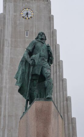 leif: REYKJAVIK, ICELAND - JUN 17:  Leif Erikson's, whose sculpture at Hallgrimskirja church is shown on June 17, 2015, was the first European to discover America.