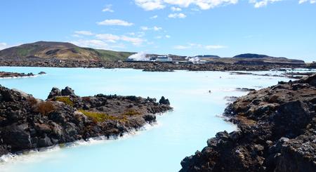 grindavik: GRINDAVIK, ICELAND - JUN 13:  Waters flow from the Svartsengi geothermal plant to the Blue Lagoon spa on June 13, 2015 Editorial