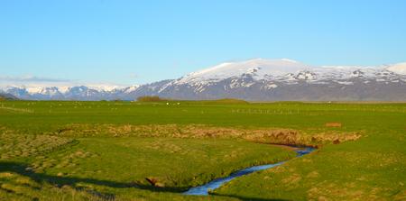 FLJOTSHLID, ICELAND - JUN 13:  Eyjafjallajokull volcano, seen from Fljotshlid, Iceland on June 13, 2015. Its eruption in 2010 grounded thousands of European flights. Redakční