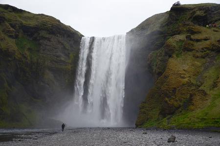 skogafoss waterfall: NEAR SKOGAR, ICELAND - JUN 15:  Skogafoss waterfall, shown here on June 15, 2015, was in the film The Secret Life of Walter Mitty in 2013.