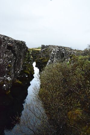 fissures: THINGVELLIR, ICELAND - JUN 17:  One of the fissures in Thingvellir National Park, Iceland, shown on June 17, 2015, is one of the results of continental drift at the site. Editorial