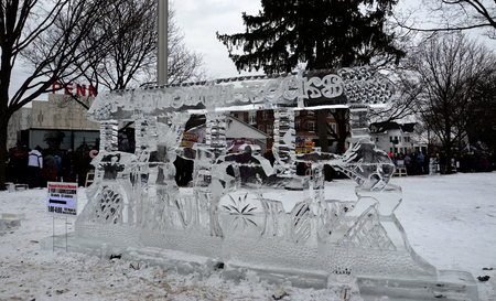 "PLYMOUTH, MI - JANUARY 11:  ""Plymouth Rocks"" sculpture highlights the Plymouth Ice Festival on  January 11, 2015."