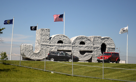 chrysler: TOLEDO, OH - JUNE 2:  Fiat Chrysler will determine soon whether to keep building Jeeps at the Toledo Chrysler Assembly Plant, whose Jeep sign is shown on June 2, 2015.