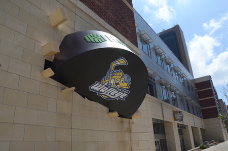 walleye: TOLEDO, OH - JUNE 2:  Toledo's Huntington Center, shown on June 2, 2015, is the home of the Toledo Walleye ECHL ice hockey team.