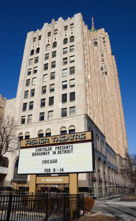 DETROIT, MI - FEBRUARY 6:  The Fisher Theater, shown on February 6, 2016, is one of Detroits oldest live theatre venues.