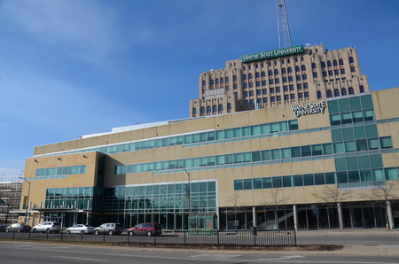 DETROIT, MI - FEBRUARY 6: Wayne State University in Detroit, shown, on February 6, 2016, is Michigans third-largest university.