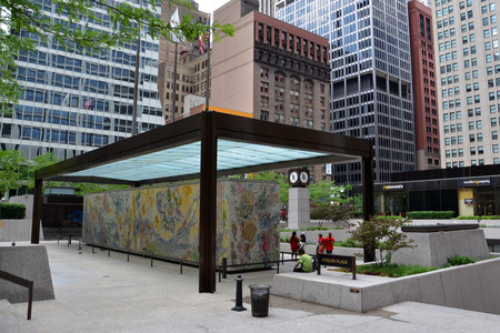 CHICAGO - MAY 29: The Four Seasons mosaic by Marc Chagall, in the Exelon Plaza in Chicago, is shown here on May 29, 2016. The mosaic was dedicated on September 27, 1974.