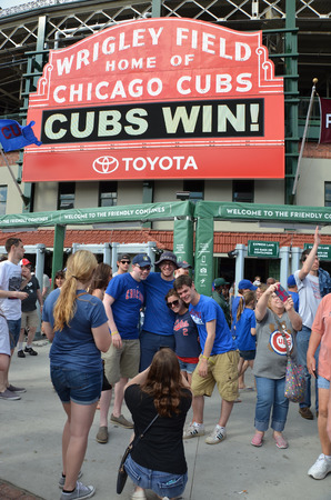 CHICAGO - MAY 29: Wrigley Field, home of the Chicago Cubs, is shown here on May 29, 2016. Fans are celebrating their 7-2 win against the Philadelphia  Phillies. Editorial