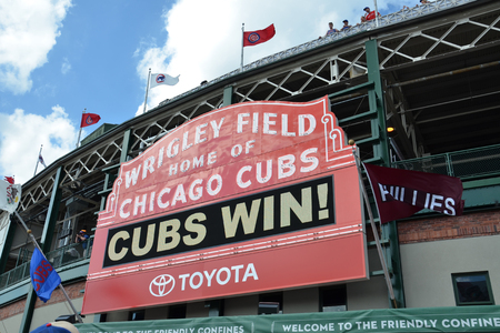 CHICAGO - MAY 29: Sign on Wrigley Field, home of the Chicago Cubs, is shown here on May 29, 2016 after their7-2 win against the Philadelphia  Phillies. Editorial