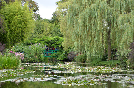 GIVERNY, FRANCE - AUG 5:  A bridge in the garden of Claude Monet is seen across the pond in Giverny, France, on August 5, 2016.