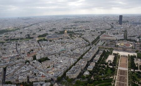 PARIS - AUG 8:  View from the Eiffel Tower in Paris, France is shown on August 8, 2016. It was originally the entrance to the 1889 World Fair.