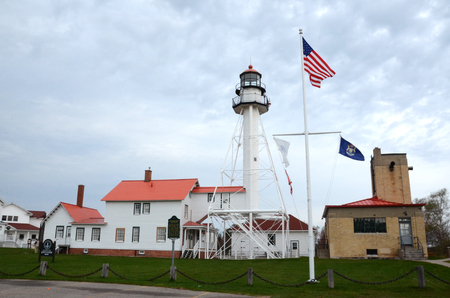 WHITEFISH POINT, MI - MAY 28:  The lighthouse at Whitefish Point, MI is shown on May 28, 2017. It is the longest working lighthouse on Lake Superior.