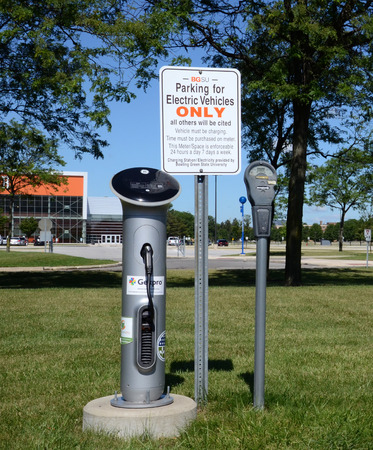 BOWLING GREEN, OH - JUNE 25: An electric car charger at Bowling Green State University in Bowling Green, Ohio, is shown on June 25, 2017.